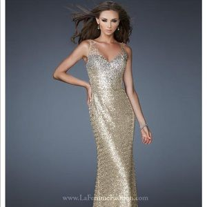 La Femme Gold Prom/Formal Dress